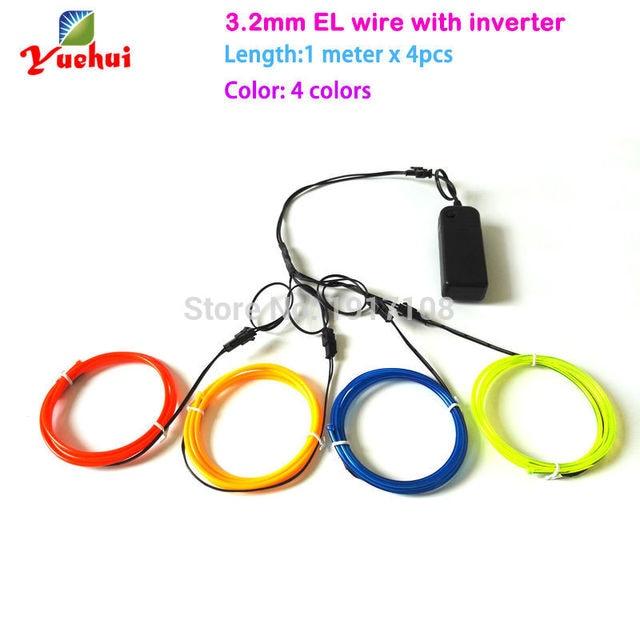 4pieces 1M multicolor 3.2mm el wire tube rope flexible ...