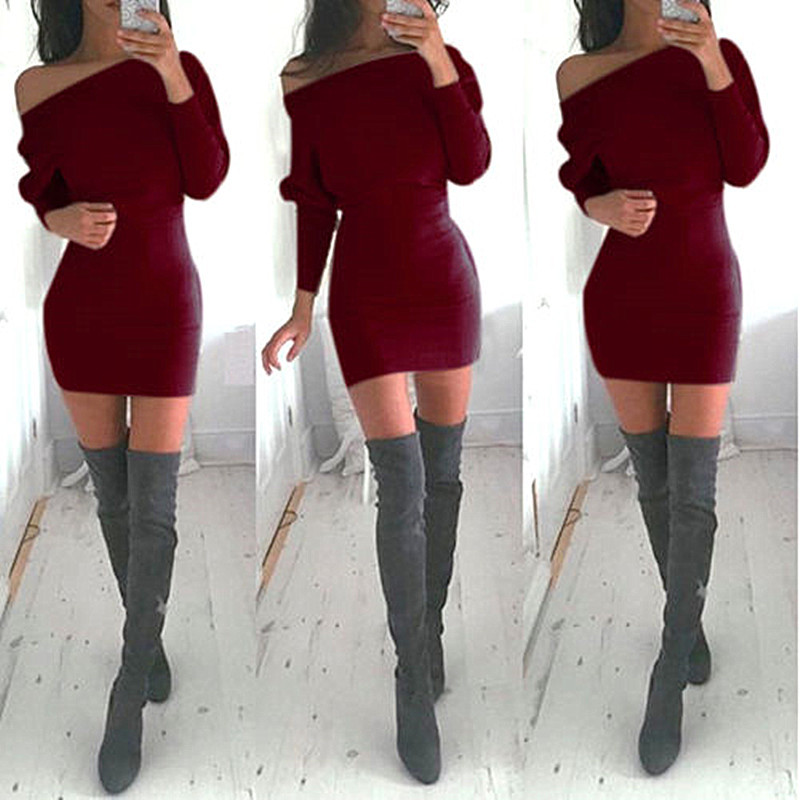 Women Casual Dresses Neck Bat Sleeve Women Sexy Dress Package Hip Slim Tights Bodycon Party Dresses