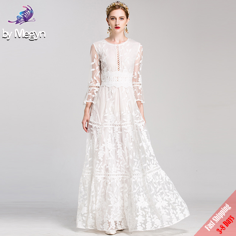 Us 9935 28 Offhigh Quality Runway Fashion Designer Winter Maxi Dresses Womens White Solid Embroidered Lace Luxury Party Long Dress 2019 In