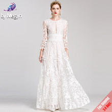 High Quality Runway Fashion Designer Winter Maxi Dresses Women's White Solid Embroidered Lace Luxury Party Long Dress Free DHL(China)