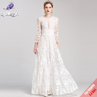 High Quality Runway Fashion Designer Winter Maxi Dresses Women S White Solid Embroidered Lace Luxury Party
