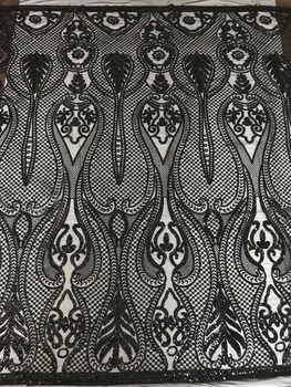 embroidered Net Lace African French Laces Fabrics High Quality SYJ-62523 Nigerian Net Lace with sequins