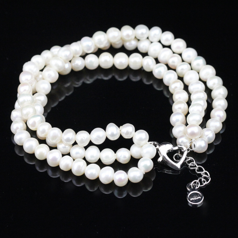 ca729d3c0ae2 Pulsera de perlas de agua dulce 100% genuino de agua dulce barroco Pepita  forma Potato 3 línea multi Strand perla pulsera