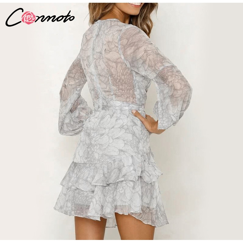Conmoto Vintage Print Summer Dresses Female Elegant Party Short Dress Bow Sexy Ruffles Chiffon Dress Women Vestidos 2 Colors 10