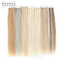 """Neitsi лента для наращивания человеческих волос 1"""" Искусственные волосы одинаковой направленности Двусторонняя изолента прямые волосы для уток 15 цветов"""