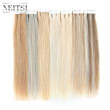 Neitsi Tape In Human Hair Extensions 12 Machine Made Remy Double Side Tape Straight Skin Weft Adhesive Hair 15 Colors sambraid straight hair skin weft 22 inch 40 pieces pack synthetic hair extensions tape in hair pure color double side tape