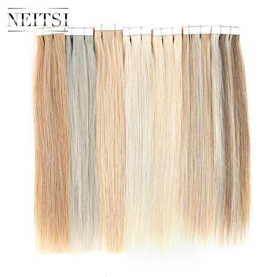 "Neitsi Tape In Human Hair Extensions 12"" Machine Made Remy Double Side Tape Straight Skin Weft Adhesive Hair 15 Colors"