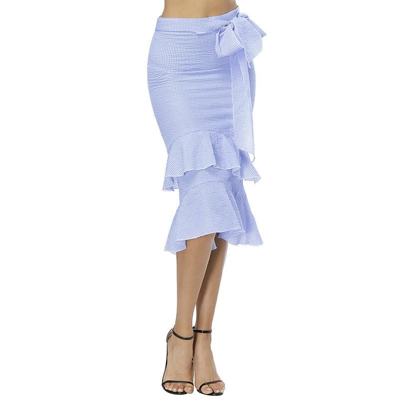 High-waist Skirt 2018 Summer New Fashion Bowtie Plaid Skirts Sweet Flounce Bodycon Skirts Empire Sexy Sheath Mermaid Skirts