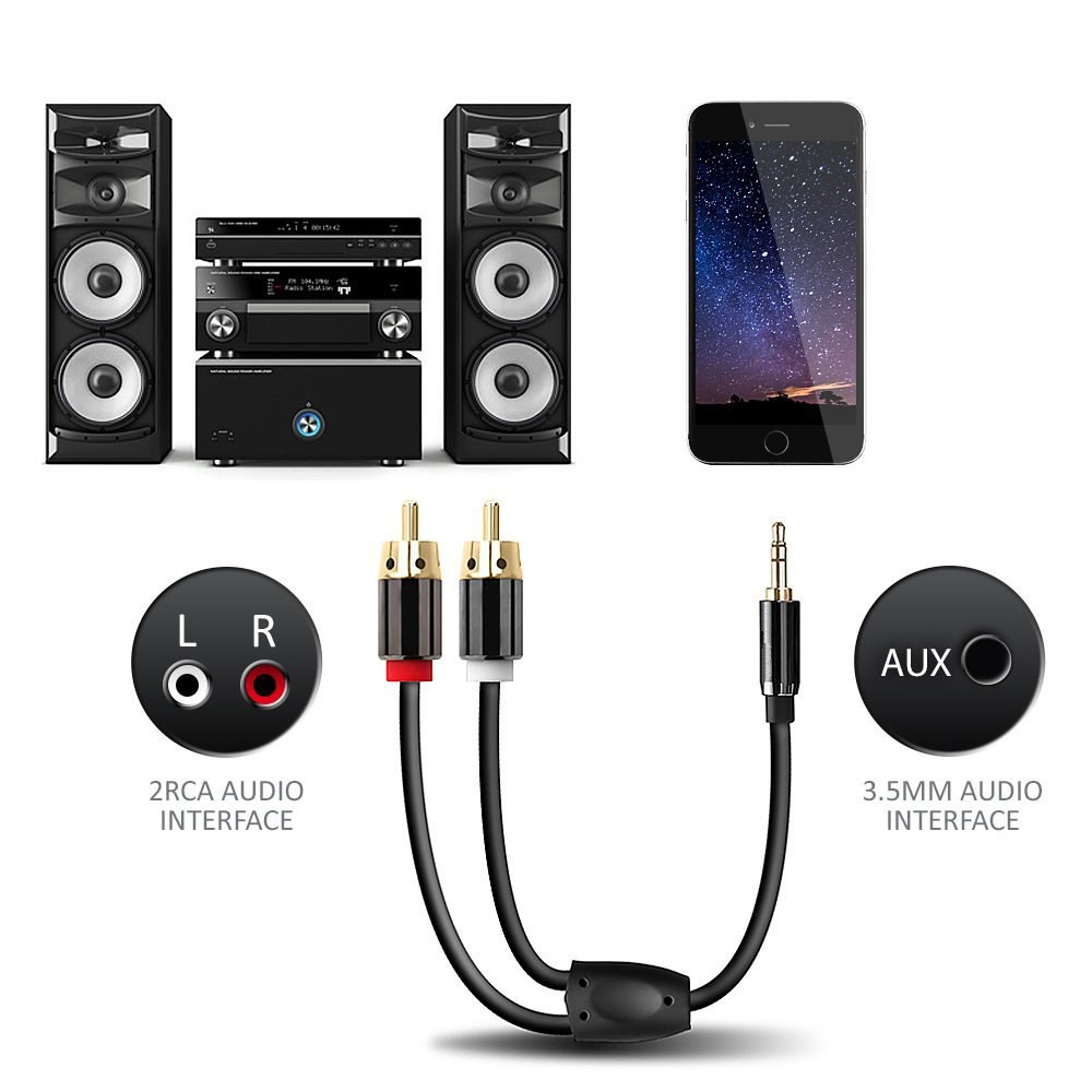 3.5mm Jack to 2 RCA Audio Cable Male to Male 1m for Mobile Phone DVD MP3 PC Connect Speaker Amplifier Subwoofer Mixer Aux Cable