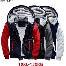 Plus tamanho grande grandes jaquetas masculinas moletom com capuz grosso velo quente outono 7xl 8xl 9xl 10xl inverno preto retalhos para fora usar casaco