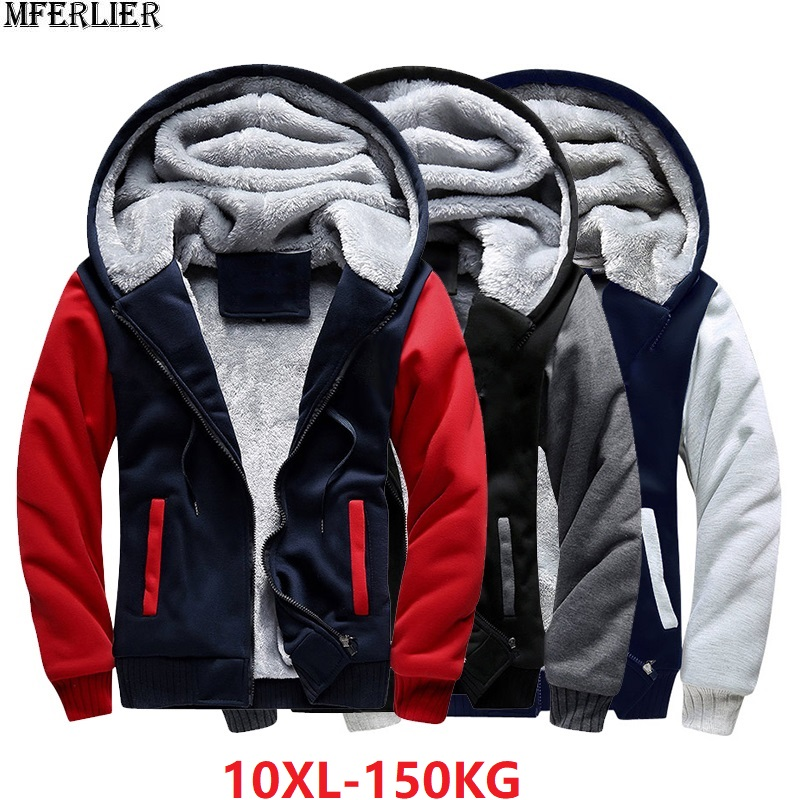 Plus Large Size Big Men Jackets Sweatshirt Hooded Thick Warm Fleece Parkas 7XL 8XL 9XL 10XL Winter Black Patchwork Out Wear Coat