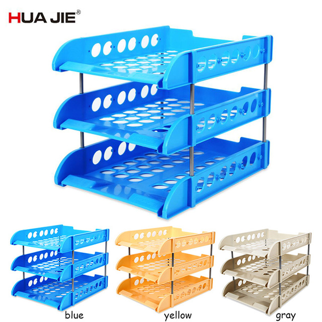 HUA JIE 1pc Bookcase Office Info Rack Desktop Stackable A4 Plastic File  Organizer Box Document Storage
