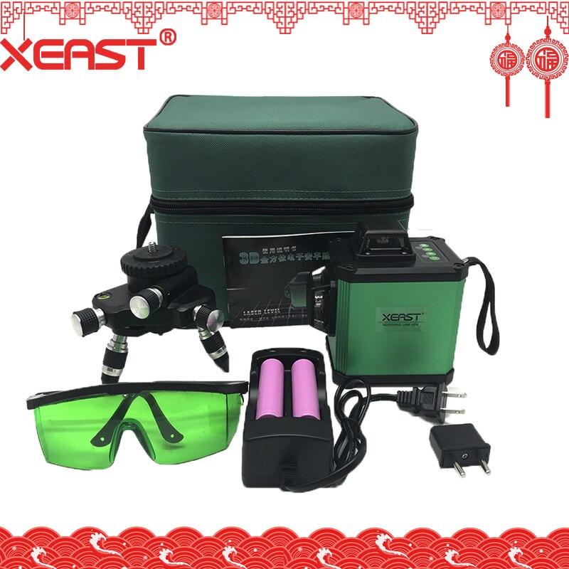 XEAST 2018 Nivellement Électronique 12 Ligne 3D Laser Niveau De Haute précision Vert Laser Niveau Batterie Au Lithium Croix Ligne