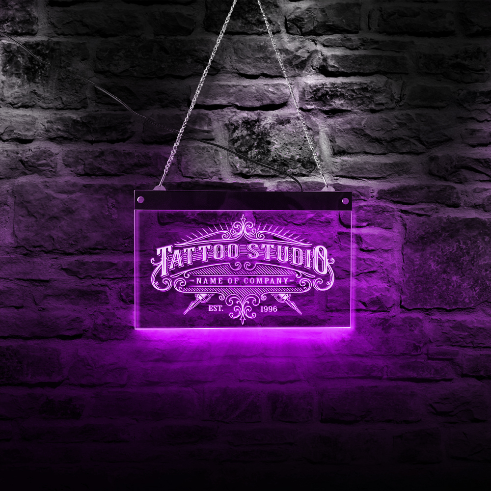 Tattoo Studio Acrylic Light Board Hanging LED Neon Sign Work Shop USB Power Remote Control Color Changing Light Wall Decor