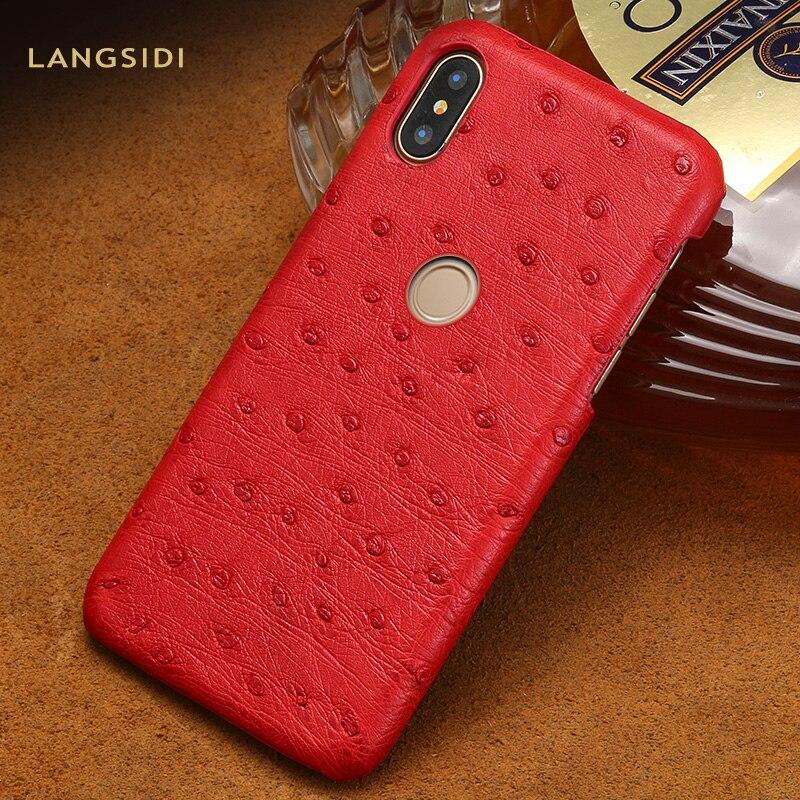 Natural Ostrich Leather Case For Xiaomi Mi 9 8 Lite Explore Pocophone F1 Cases For Redmi