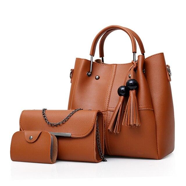 0f931315d82b Fashion 3Pcs Sets Women Handbags Large Capacity Casual Totes Tassels Chain Shoulder  Crossbody Bag Ladies Clutch Composite Bags
