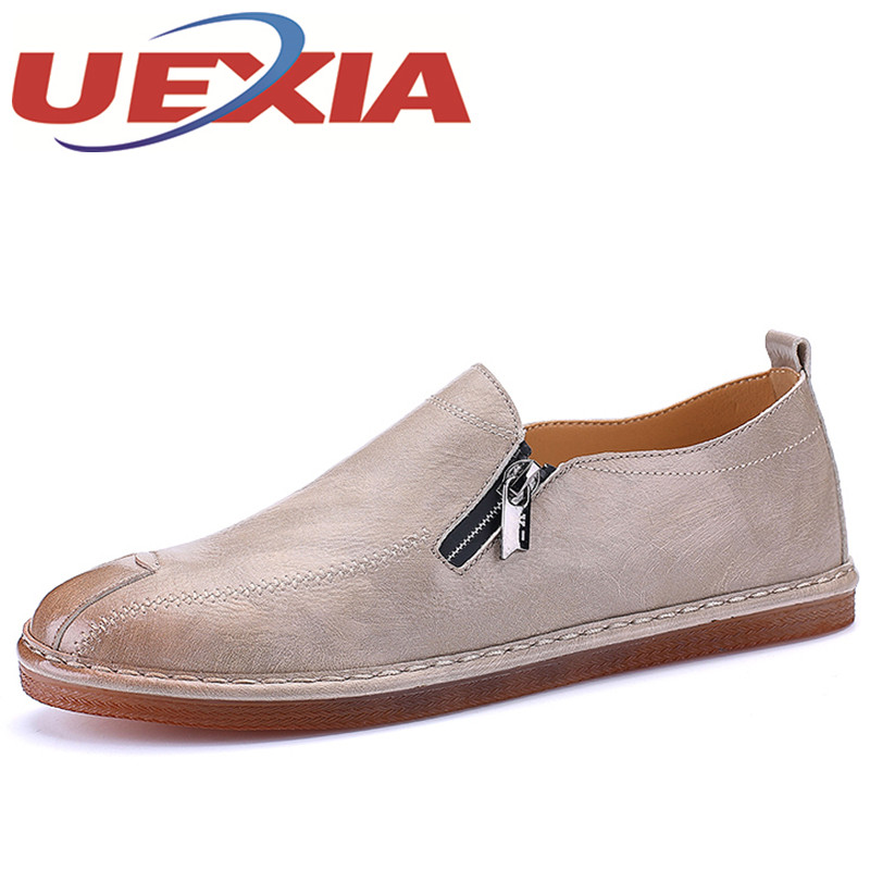 Men's Casual Pu Leather Shoes Outdoor Cowhide Driving Slip On Loafers Men Handmade Flats Shoes Breathable Zipper Zapatos Hombre new arrive leather fashion mens casual shoes cowhide driving slip on loafers men handmade flats shoes breathable zapatos hombre