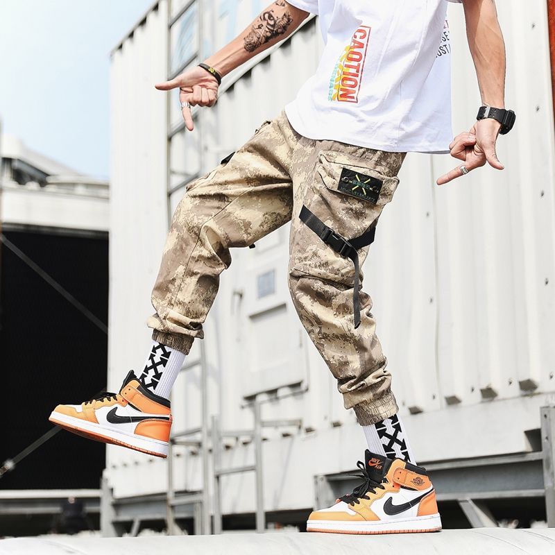 Streetwear Harem Joggers Men Ribbons Side-pockets Camouflage Military Mens Trousers Casual Slim Cargo Pants For Man