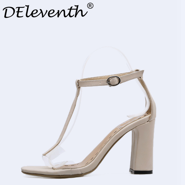 662059d60 DEleventh 2018 New Fashion Gladiator Buckle Strappy Sandals Womens High Heel  Transparent Block Heels Summer Shoes