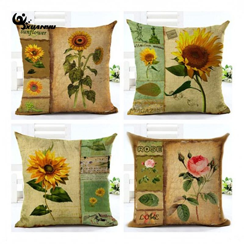 Retro Sunflower Pillow Case Sunflower Cushion Cover Pillow Case For Sofa Home Decoration F