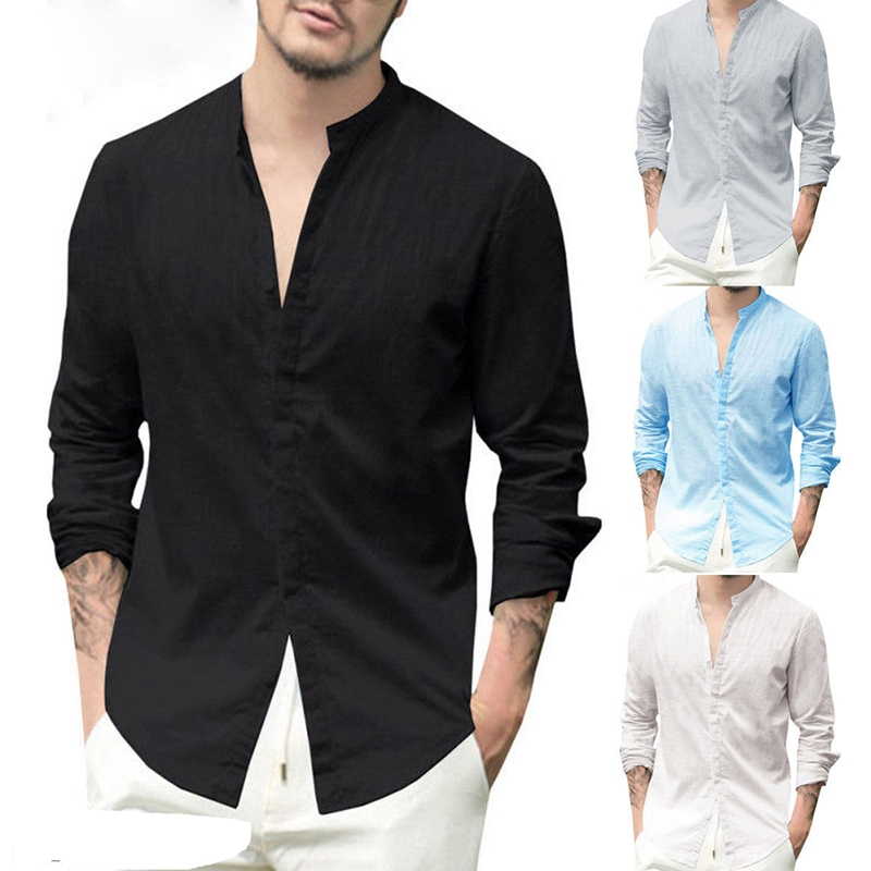 Classic Men Business Shirts Smart Casual Luxury Slim Long Sleeve COTTON&LINEN Shirts