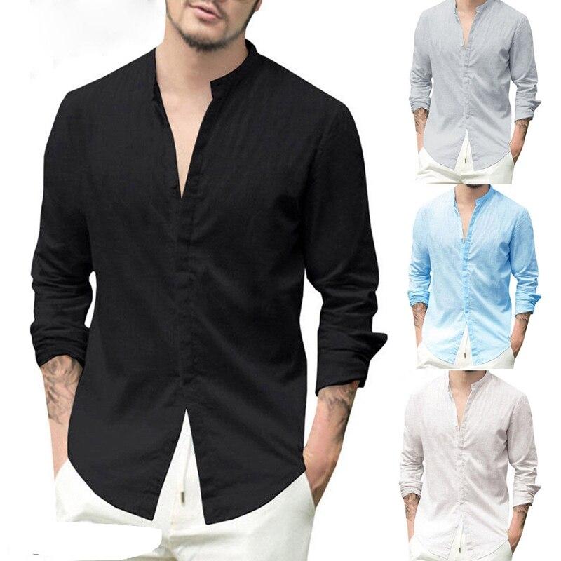 Classique hommes chemises d'affaires Smart décontracté luxe Slim à manches longues coton et lin chemises