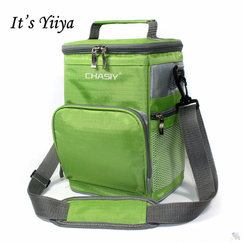 Its Yiiya New High Capacity Green Gray Insulated Picnic Cooler Bag Fashion Cylinder Lunch Bag Portable Thermal Bags BW023