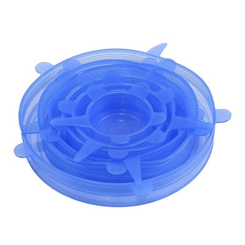 Мягкая силиконовая крышка 6 Pack различных Размеры эластичный контейнеры пищевые для чашки, кастрюли, может, чаши, блюда, кружки, банки для