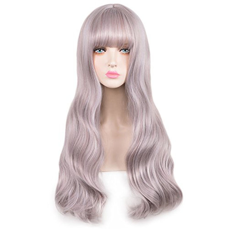 Fashion Mermaid Shine Flat Bangs Long Curly Synthetic Cosplay Wig Hair + Wig Cap