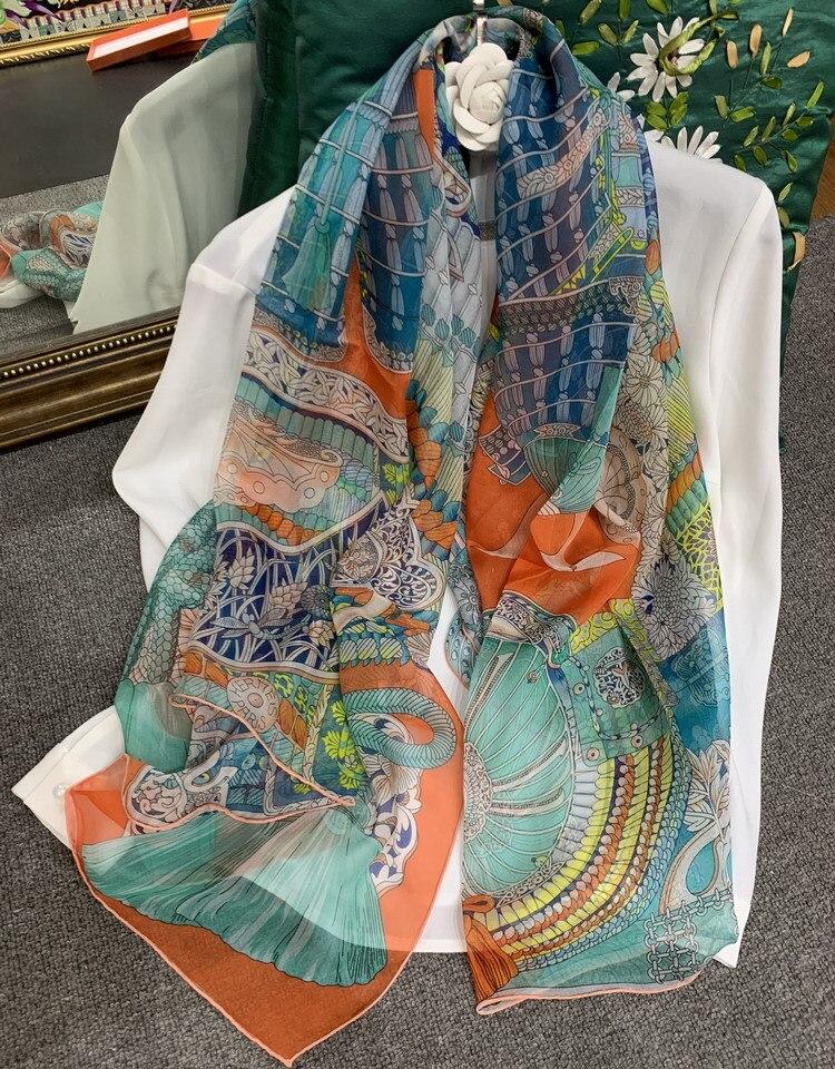 Armor Printing Chiffon Silk Scarf Women Pure Silk Scarves Luxury Brand Female Square Large Summer Shawls