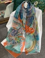 Rüstung Druck Chiffon Seide Schal Frauen Reiner Seide Schals Luxus Marke Weibliche Platz Große Sommer Schals Wraps 140*140 cm