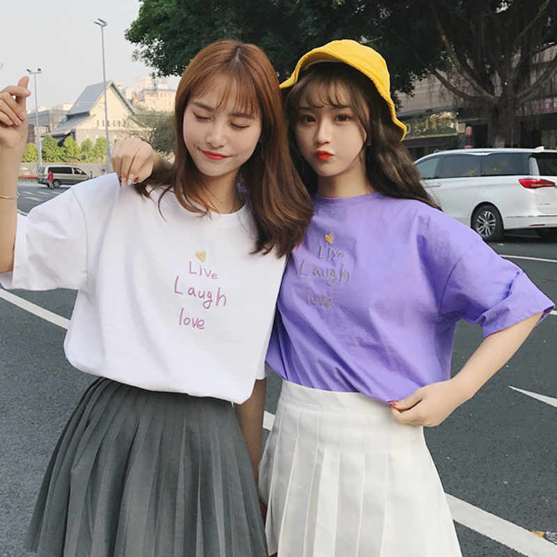 Summer Womens Cute Letter Embroidery Heart Pattern T Shirt Korean Style Short Sleeve Graphic Funny T Shirts Female Casual Top
