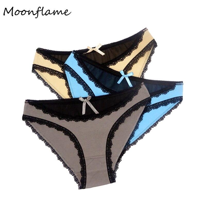 Moonflme 3 Pcs/lots New Arrival Ladies Underwear Sexy Lace Cotton Women Briefs Panties M L XL 89227