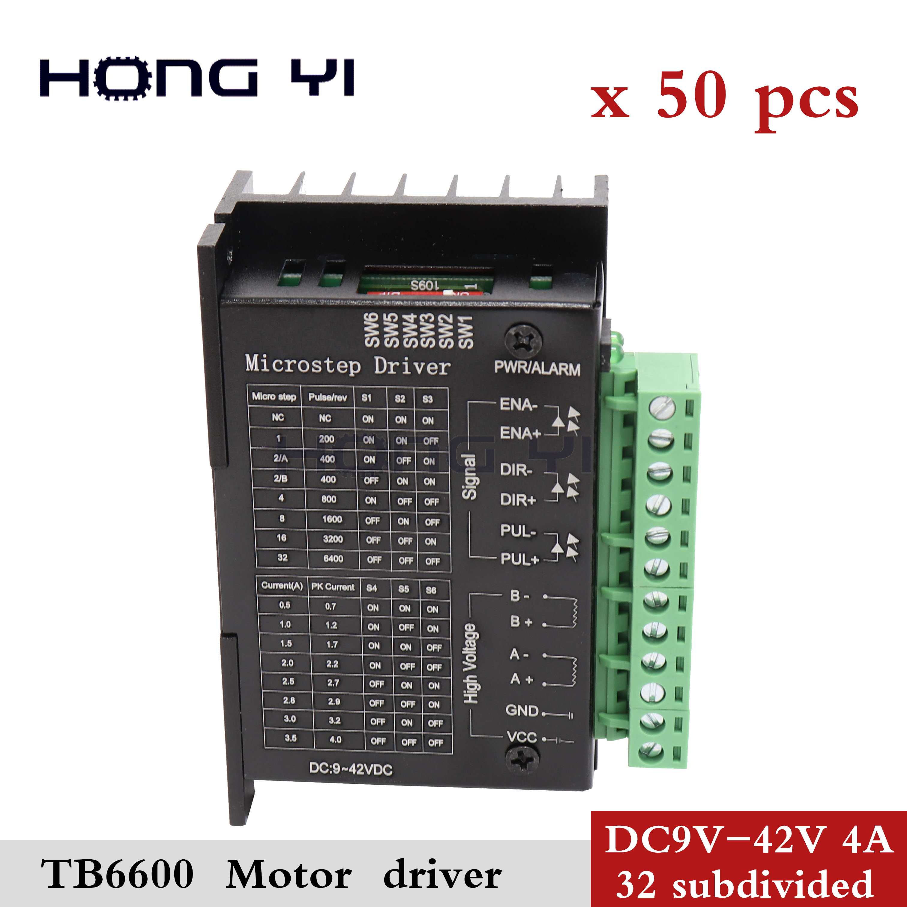50pcs CNC Single Axis 4A TB6600 Stepper Motor Drivers Controller 9 42VDC Milling Kits