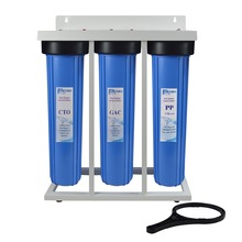 3 Stage High Flow Rate Water Filtration 20 Jumbo Filter with metal frame ,1 brass inlet&outlet connection