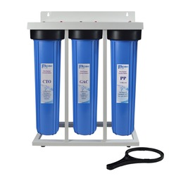 3-Stage Whole House Water Filtration System 1-in. BRASS port with Stand, 20 Big Blue Sediment ,GAC ,Carbon Block Filters&wrench