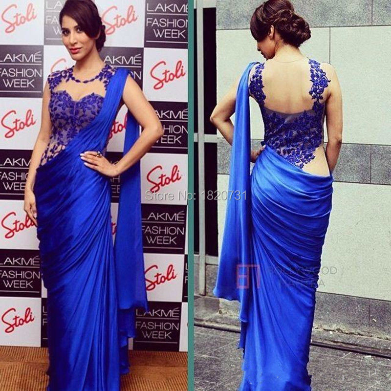 Arabic Indian Women   Evening     Dresses   2019 Sexy Royal Blue Appliques Sheer Back Party Formal Gowns Party   Dresses