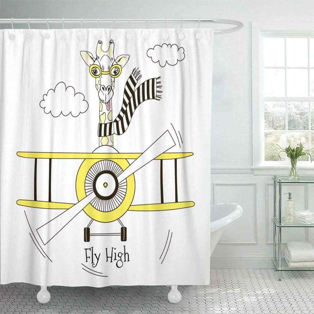 Cortina de chuveiro com Ganchos Girafa Bebê Piloto Avião Avião Voando Criança Gráfico Desenho Rabisco Cachecol Céu Parede Decoração Do Banheiro