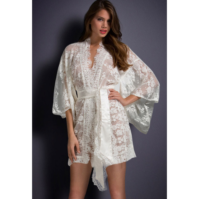 The Qixi Festival Valentine's white V collar seven sleeve bat sleeve with drawstring waist lace kimono pajamas 21998