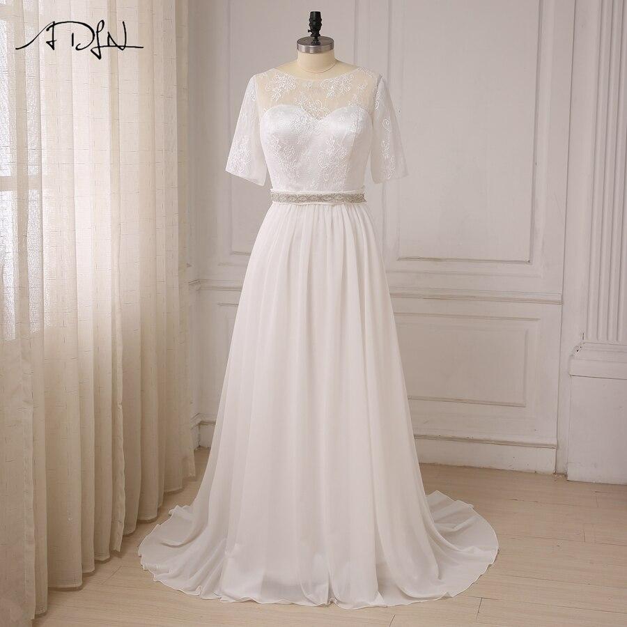 ADLN Women Plus Size Wedding Dresses Short Sleeve Lace Top Beading Belt Chiffon Beach Wedding Gowns Vestido De Novia