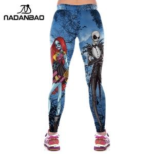 Image 2 - NADANBAO Halloween Jack Skellington Leggings Women The Nightmare Before Christmas Plus Size Pants Digital Print Fitness Leggins