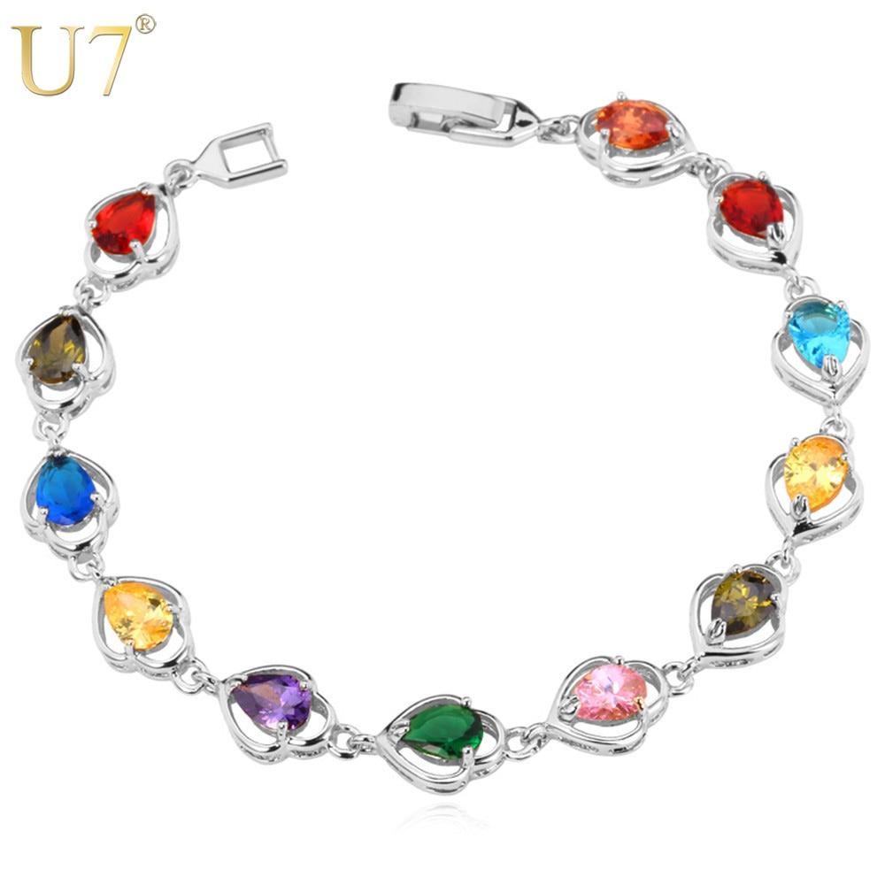 bdbb1cd6810f U7 lujo brillante CZ cristal Tenis pulsera para mujeres oro plata color  ZIRCON moda joyería Brazaletes pulseras h503