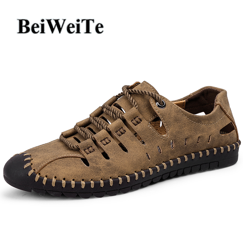 BeiWeITe Summer New Style Mens Outdoor Sandals Safety Closed Toe Breathable Beach Shoes Men Anti-skid Fishing Walking Shoes Hot