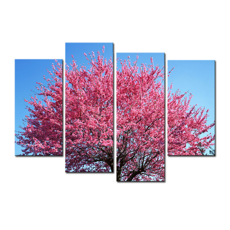Pink Flower Cherry Tree Blue Sky HD Canvas Prints Modular Pictures Artwork Landscape Wall Art for Home Decor No frame 4 Panel