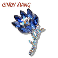 CINDY XIANG Blue Color Crystal Flower Brooch Wedding Bouquet Brooches Pin New Design Summer Dress Jewelry T-shirt Accessories