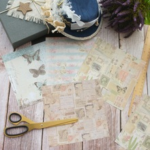8 Sheets/lot 16.5*16.5cm  DIY Retro Old Time Paper Collage Design Wrapping Creative Craft Background Scrapbook