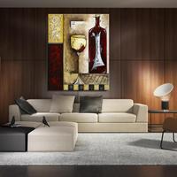 The Wine Bottle Wine Glass Still Life Europe Unframed Spray Oil Painting Canvas Frameless Scarf Art