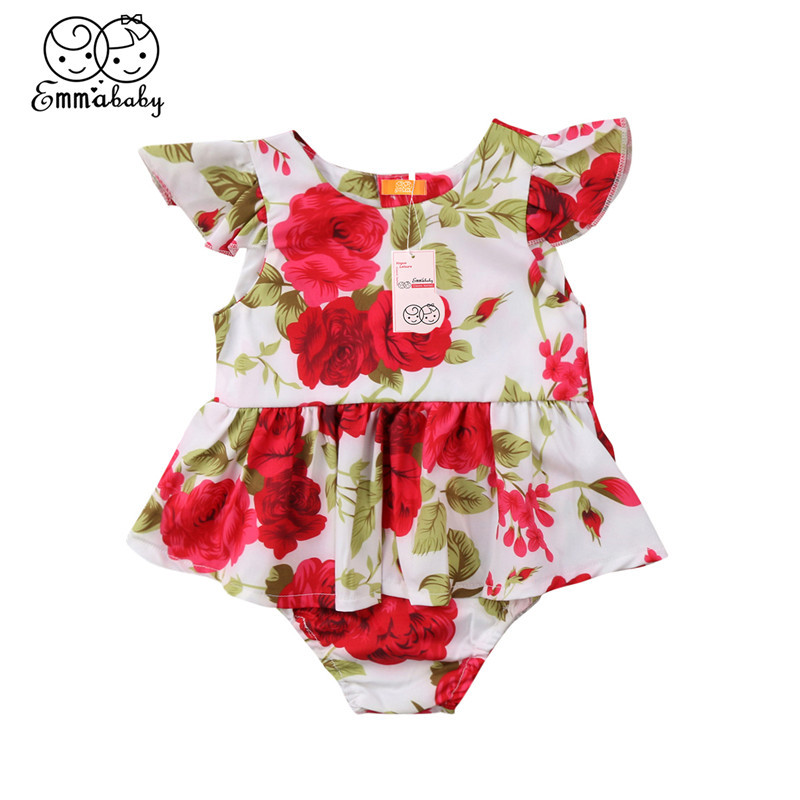 Fashion Baby Girls Romper Dress Summer Newborn Girls Flower Print Romper Dresses 2018 New Bebes Jumpsuit Hot Sale Baby Clothing
