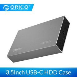 ORICO 3,5-дюймовый корпус для жесткого диска Type-C USB3.1 на SATA 3,0 Gen1 алюминиевый корпус для жесткого диска 6 Гбит/с Поддержка жесткого диска 10 ТБ с ада...