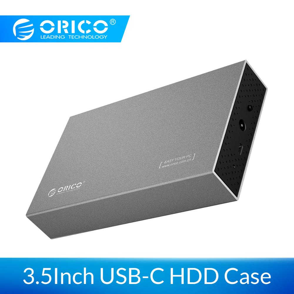 ORICO 3.5'' Type-C HDD Case USB3.1 To SATA 3.0 Gen1 Aluminum Hard Drive Enclosure 6Gbps Support 10TB HDD With 12V Power Adapter